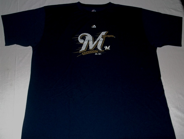 huge selection of 0faec 2baf6 Details about Milwaukee Brewers Crew Neck Replica Jersey Shirt 2XL Navy  Stay Dry Majestic MLB