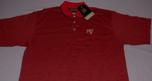 72b7a6ac Details about Tampa Bay Buccaneers Golf Polo Shirt Large NFL Reebok  Embroidered Logo Red Black