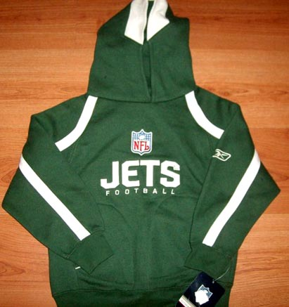 NEW YORK JETS REEBOK NFL HOODED SWEATSHIRT HOODIE YOUTH S M L BLACK NWT