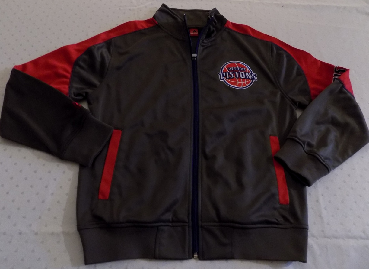 Details about Detroit Pistons Full Zip Jacket Youth Large Charcoal Gray  Embroidered Logos NBA