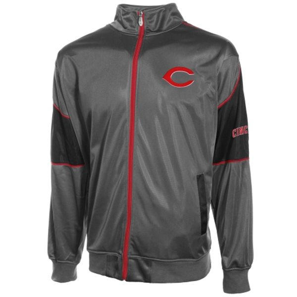 Details about Cincinnati Reds Tricot Track Jacket 3XL Full Zip Charcoal  Majestic Athletics MLB