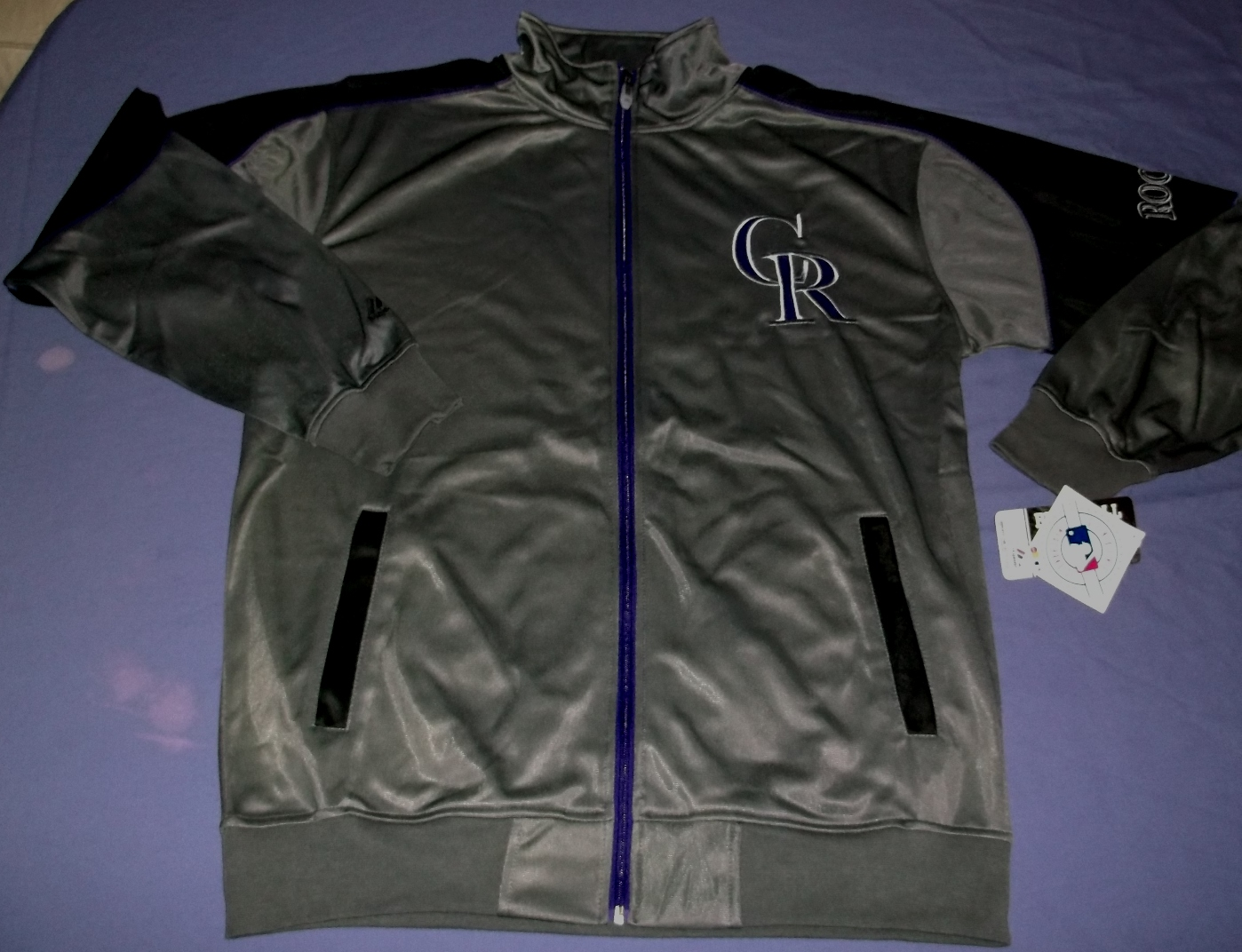 Details about Colorado Rockies Tricot Track Jacket Large Tall Full Zip  Majestic Charcoal MLB
